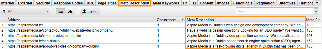 How to check Meta Description at Scream Frog